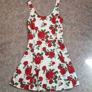 White Red Rose Patterned Summer Dress
